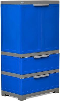Nilkamal Freedom FMDR 2B Plastic Storage Cabinet with 1 Drawer (Deep Blue & Grey)