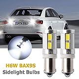 MASO 2 lampadine H6W 10LED DRL Laterali F30 F31 per luci di retromarcia, fari allo Xeno Bianco Canbus BAX9S 433 434 300LM