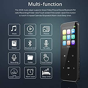 32GB MP3 Player with Bluetooth 4.2, ADOKEY Digital Music Player with FM Radio Portable Music Player HiFi Lossless Sound MP3 MP4 Player with Touch Button for Sport Running Jogging