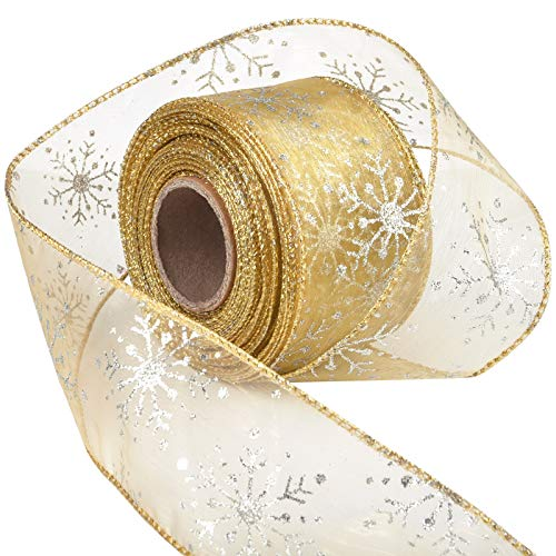 Livder 2.5 Inch Wide Christmas Wired Ribbon Snowflake Organza Sheer Glitter Ribbon for Xmas Tree, Wreath, Party Decoration, Gift Wrapping (Golden, 21.9 Yards)