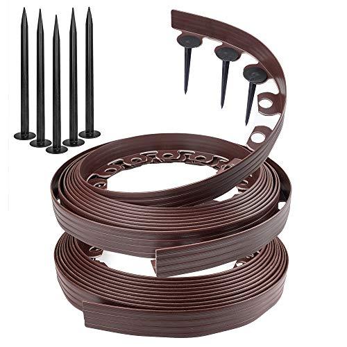 Chrispol - Borde para césped de color negro, marrón, verde, 10 m, 20 m, 50 m de largo, 4 cm de alto, cercado, con clavos de fijación