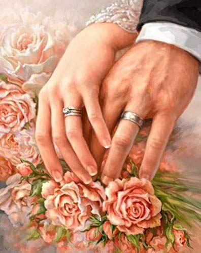 5D DIY Diamond Painting Anillo de bodas romantico Kit de Pintura de Diamantes Adultos y niños Regalo punto de cruz diamantes de cristal Art -decoración hogar 30x40cm Sin marco