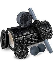 Foam Roller 2 in 1 Spier Massage Roller 5 Stuk Fitness Set voor Deep Tissue Muscle Massage, Massage Sticker Twee Massage Ballen & Stretching Band voor Gym, Yogo, Pilates & Runners Therapie Rehabilitatie