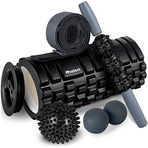 HBselect Faszienrolle Set Wirbelsäule Foam Roller Massagerollen Duoball Massagestäbchen Massageball (5 in 1 Schwarz)