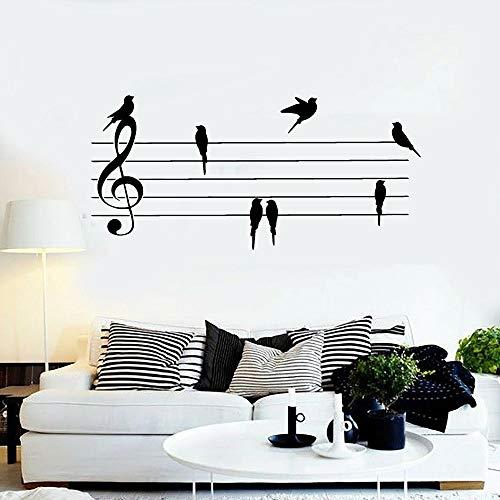 Vinilo Nota musical Papel Nota musical Pájaro Sala de música Papel Adhesivo de pared