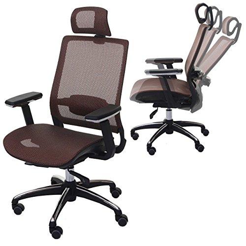 Mendler Bürostuhl HWC-A20, Schreibtischstuhl, ergonomisch Kopfstütze Stoff/Textil ISO9001 ~ Mandarin