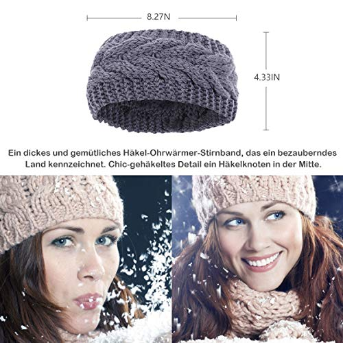 Winter Knitted Headband - Women Chunky Knit Headbands Crochet Braided Hair Band Ear Warmer Crochet Head Wraps Cable Knitted Turban Hairband