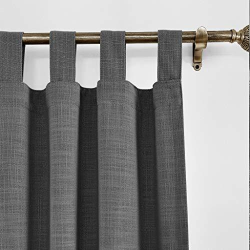 ChadMade 127 x 243 cm (B x L) Carbon Grau Leinen mit Blackout Lining Vorhang, Blickdicht Schlaufen Vorhänge für Glas-Schiebetüren, Terrassentüren, Wohnzimmertür (1 Panel)