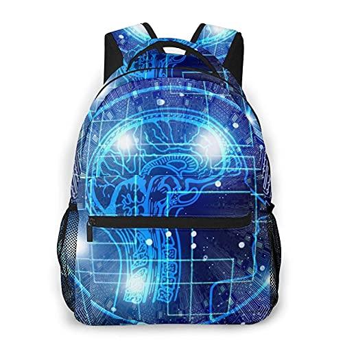 Mochila Ligera para la Escuela, Inteligencia Artificial Cerebro Unisex Mochilas Ligeras para Estudiantes para Viajes al Aire Libre, 40cm (H) x29cm (W)