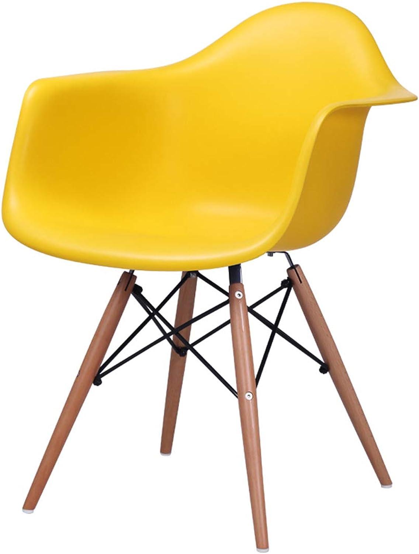 LRW European Dining Chair, Home Leisure Chair, Plastic Chair, Modern Computer Chair, Yellow
