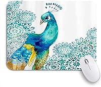 NIESIKKLAマウスパッド 孔雀鳥水彩美しいオリエンタル ゲーミング オフィス最適 高級感 おしゃれ 防水 耐久性が良い 滑り止めゴム底 ゲーミングなど適用 用ノートブックコンピュータマウスマット