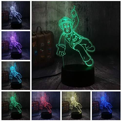 Pompier Sam Pompier Night Light 3D LED USB Table Lampe de bureau Décor À La Maison Cadeau De Noël Présentoir Ampoule Jouets Cadeau D'anniversaire