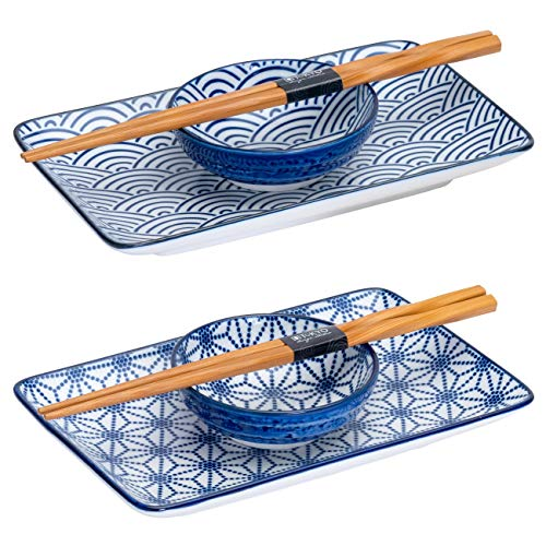 TOKYO design studio Nippon 6-piece Sushi Set, 2 Premium Porcelain Plates with Matching Sauce Dishes and Bamboo Chopsticks, Decorative Gift Box, Star and Wave Pattern, Blue