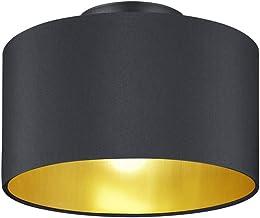 Trio Leuchten Hostel 608200279 plafondlamp, metaal, stoffen kap zwart mat/goud