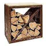 Blumfeldt Firebowl Kindlewood - Banco con Almacenamiento para leña o carbón, Estructura de bambú y Acero, para Interiores y Exteriores, con tabique Diagonal, 57 x 56 x 36 cm, Marrón