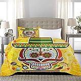 UNOSEKS LANZON - Juego de ropa de cama, diseño de calavera mexicana con tacos y chile y pimienta, color amarillo