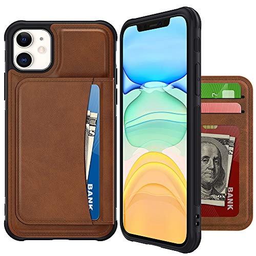 VEGO Wallet Case Compatible with iPhone 12 iPhone 12 Pro with Credit Card Holder Slots, PU Leather Flip Kickstand Cover Magnetic Closure Case for iPhone 12/12 Pro 6.1 inches (2020) (Brown)