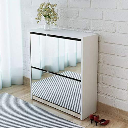 HUANGDANSP Mueble Zapatero Blanco 2 Compartimentos con Espejo 63x17x67 cm