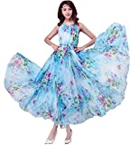 MedeShe Women's Chiffon Floral Holiday Beach Bridesmaid Maxi Dress Sundress (Small Petite, Watery Blue Floral)