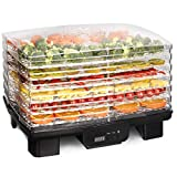 Costzon Electric Food Dehydrator, 550W Fruit Preserver Machine with 6 Drying Trays, Professional...