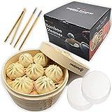 Bamboo Steamer Basket - Natural Bamboo Chinese Steam Basket - 2 Tier Food Pot Basket Steamer for Vegetables, Meat, Dumpling, Bao Bun, Dim Sum - Chopsticks, Liners, Bamboo Tong & Instructions Included