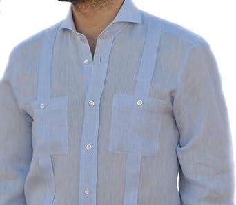 Camisa Guayabera Caballero Lino Celeste (M): Amazon.es: Ropa