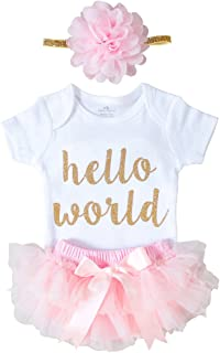 Newborn Baby Girl Coming Home Outfit Hello World Bodysuits 3pcs