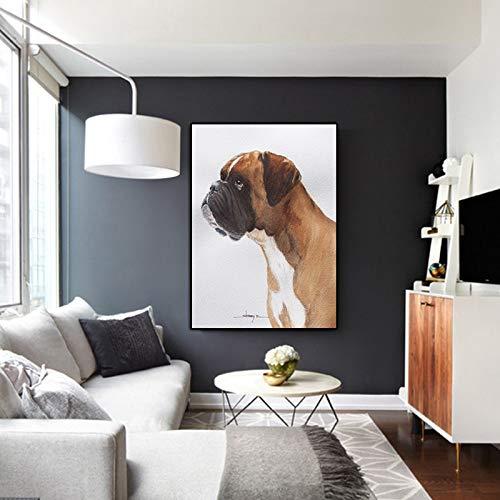 N / A Poster Moderno Moderno in Tela per Cani, Pittura murale Moderna per Animali, Soggiorno, Cartone Animato, Animale, Decorazione Domestica, Senza Cornice, 70x100 cm