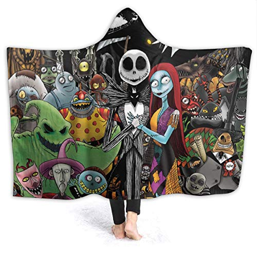 Hidreama The Nightmare Before Christmas Hooded Blanket Soft and Warm Flannel Throw Blanket for Couch...