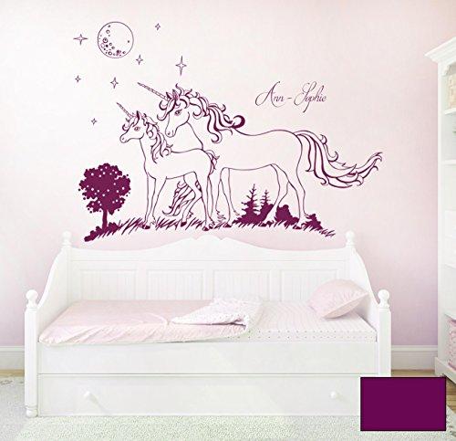 Wandtattoo Wandaufkleber Einhorn Einhörner Sterne mit Namen Wunschname M1600 - ausgewählte Farbe: *Lila* - ausgewählte Größe: M - 100cm breit x 70cm hoch