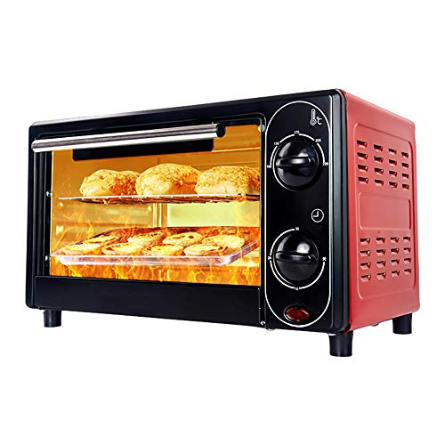 Mini Electric Oven for Baking,Small Electric Oven and Grill,Mini Oven with Hob Cookers,12L Household Electric Oven, 30 Minutes Timing, Free Temperature Control,Three-Layer Baking,Red