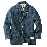 ヘリンボーンクラブ ハリスツイード 紳士のジャケット コート メンズ ウールコート 高級ジャケット 英国製法 (ネイビー, M)