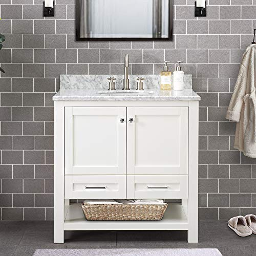 SJ Collection Walter 36 in. Shaker Style Single Sink Bathroom Vanity, White