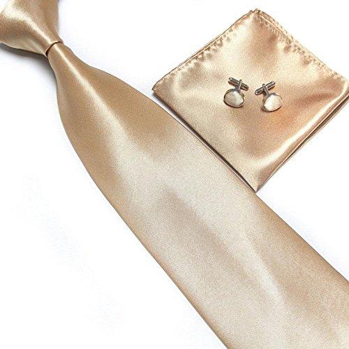 Cravate + Pochette + Bouton de Manchettes Satinée - Champagne - Neuf