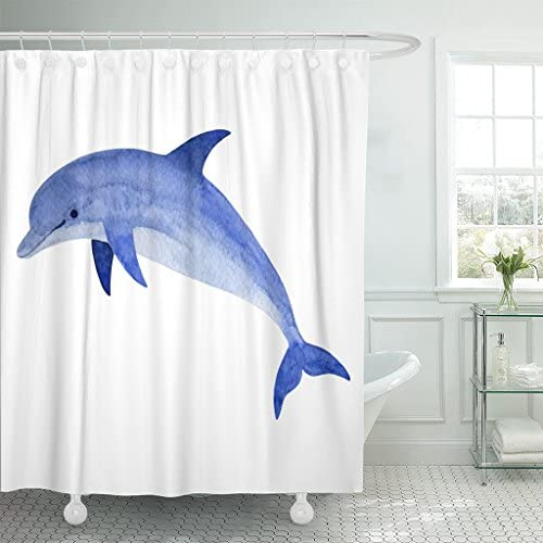 Emvency Shower Curtain Curtains Sets with Hooks Nautical Theme Navy Fish Dolphin in Water Splash product image