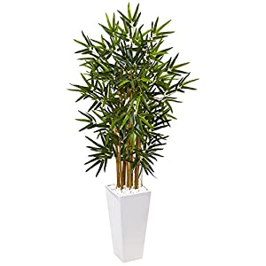 Nearly Natural 4' Bamboo Tree in White Tower Planter Artificial Plant, Green