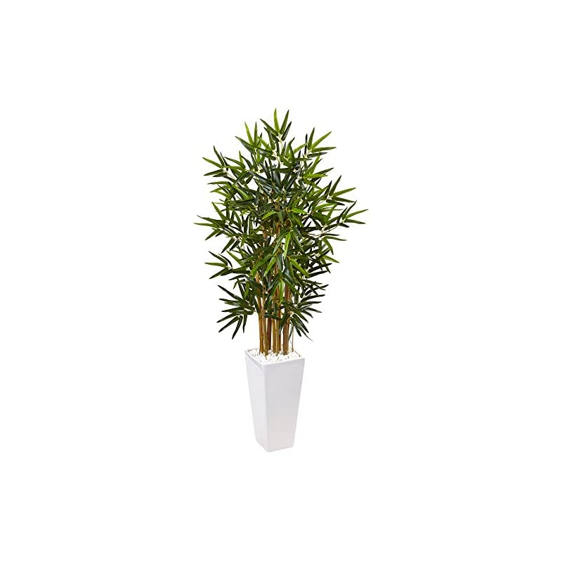 silk flower arrangements nearly natural 4' bamboo tree in white tower planter artificial plant, green