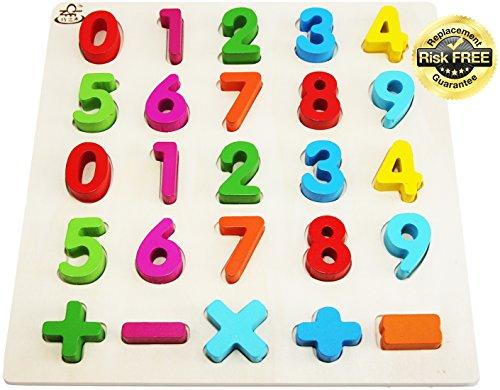 EasY FoxY ToY Zahlen-Holzpuzzle Grosse Bunte Nummern 0-9, Holzspielzeug für Spielerisches Lernen von Zahlen, Motorikspielzeug ab 2 Jahre Rahmenpuzzle Geschenk für Kinder, Kinderpuzzle für Spiel Spaß
