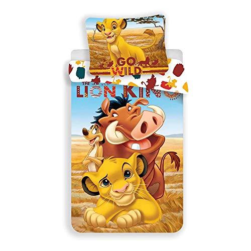 Le Roi Lion Housse de couette 140x200 enfant disney Parure de lit 1 personne réversible 100% coton garçon fille linge pour lit de 90 cm