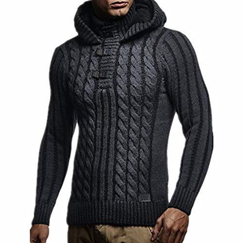 Suéter para Hombre Moda de Invierno Jacquard de Moda Tallas Grandes Suéter con Capucha de Cuello Alto Suéter Informal de Manga Larga Sudaderas con Capucha Chaquetas de suéter XL