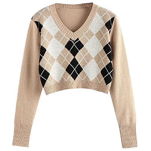 N\P Plaid Vintage Crop Tops Cardigan Mujeres Otoño Manga Larga Punto Suéter Cardigan Señoras