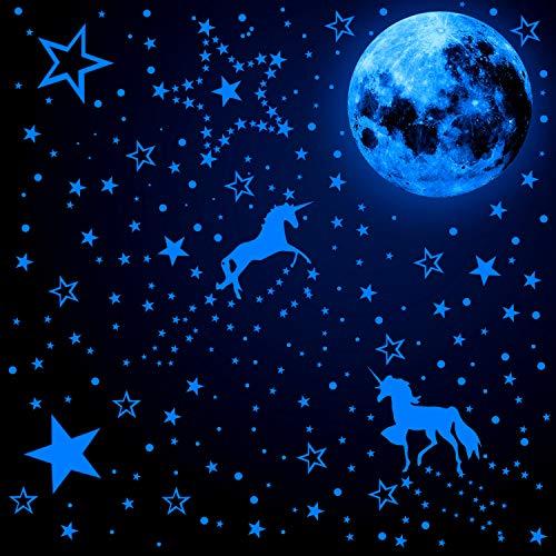 466 Pezzi Illuminano al Buio Decalcomanie Murali di Unicorno Adesivi Luminosi di Stella Luna Adesivi Fluorescenti a Soffitto Murali (Blu Fluorescente)