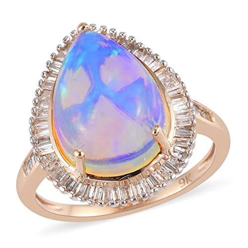 TJC Opal Halo Ring for Womens in 9ct Yellow Gold Anniversary/Wedding/Proposal Gemstone Jewellery Size M with White Diamond October Birthstone, TCW 3.9ct