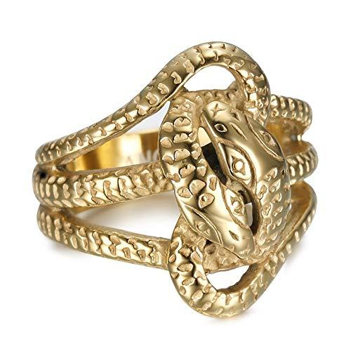 BOBIJOO Jewelry - Bague chevalière Double Serpents Entrelacés 2 Têtes Acier Inoxydable Or Doré Plaqué Homme Femme - 60 (9 US), Doré Or Fin - Acier Inoxydable 316