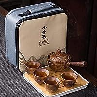 中国のカンフーティーセット手作りセラミックティーポットセット、4つのティーカップ付きセラミックポータブルトラベルティーカップセット、ティーポット、茶漉し、竹茶トレイ、トラベルバッグ,A0