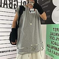 パンククールユニセックス分割穴ロング Tシャツ女性 Mam 中空アウトノースリーブ岩基本ルーズ Tシャツ 2020 ゴシックファッショントップキャミソール