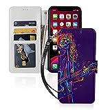 ギターを持つミュージシャン Iphone11スマホケース 手帳型 レザー 財布型 ワイヤレス充電可能 ……