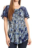Sakkas 18722 - Aziza Womens Cold Shoulder Tie-dye Blouse Top with Corset and Embroidery - Royal Blue - OSP