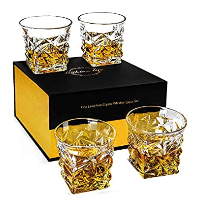 Lighten Life Crystal Old Fashioned Glass Set With a Gift Box,Set of 4 Whiskey Glass,Heavy Weighted Stylish Scotch Glass,Rock Glass for Bourbon Cognac Cocktail Liquor,Drinking Glass for Men