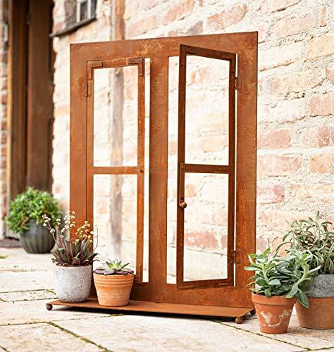 Gartendeko Fenster aus Metall im Rost-Design, 57x80 cm, Deko-Fenster, Fensterrahmen